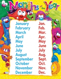 Months Of The Year Furry Friends Chart T38427