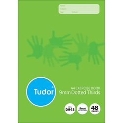 Exercise Book A4 48 Page Tudor 9mm Dotted Thirds Stapled [D948i] 9310029050773