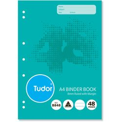 Binder Book A4 48 Page Tudor 8mm Feint Rule Stapled [B848] 9310029228226