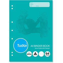 Binder Book A4 64 Page Tudor 8mm Feint Rule Stapled [B864] 9310029228271