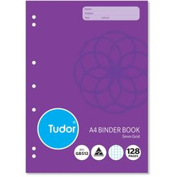 Binder Grid Book A4 128 Page Tudor 5mm Squares Stapled [GB512] 9310029228608