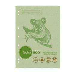 Binder Book A4 96 Page Tudor 8mm Feint Rule  ECO 100% Recycled Stapled [B896] 9310029228868