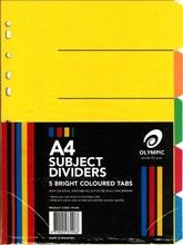 SUBJECT DIVIDERS A4 5 TAB MANILLA ASST COLS OLYMPIC