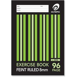 Exercise Book A4 96 Page Olympic Stripe 8mm Feint Rule Stapled [E896] 9310353004091