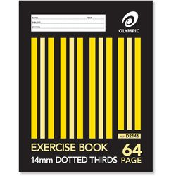 Exercise Book 9x7 64 Page Olympic Stripe 14mm Dotted Thirds Stapled 225mmx175mm [D2146] 9310353005906