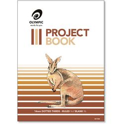 """Project Book 24 Page Olympic #524 """"Kangaroo"""" Portrait 1/3 14mm Dotted Thirds & 2/3 Plain Stapled 335x245mm [P524] 9310353042208"""