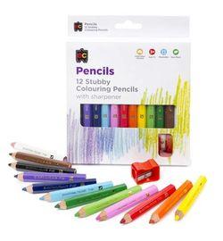 Colouring Pencils Jumbo Stubby Pack 12 & Sharpener 9314289008215
