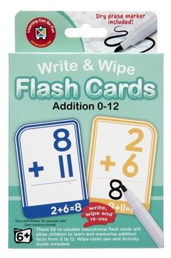 Write & Wipe Flash Cards - Addition 0-12 9314289033880