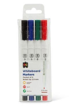 Whiteboard Marker Pk 4 Fine Tip Asst Cols 9314289032074