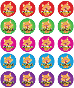 Stickers - Cat-Purrfect - Pk 100  RIC9258
