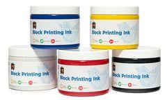 Block Printing 250ml Set6 Bl/Blk/Rd/Yl & 2Wht  9314289017972
