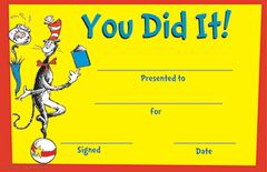 Certificate - Dr Seuss You Did It! - Pk 36  EU844800