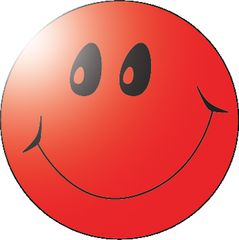 Stickers - Smiley Red Foil - Pk 100  MAG072