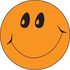 Stickers - Smiley Orange Fluoro - Pk 100  MAG078