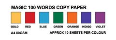 Magic Words Copy Paper 80gsm (Pack of 70, Gold/Red/Blue/Green/Orange/Indigo/Violet) 2770000003810