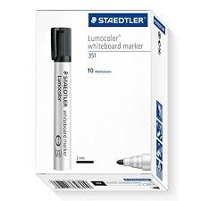 WHITEBOARD MARKER PK 10 BLACK BULLET - STAEDTLER 351 - 2MM 4007817328910