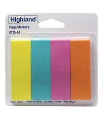 Highland Page Markers Orange Pink Blue Yellow Pk 200 021200527104