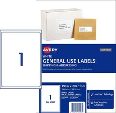 Labels Avery A4 L7167GU Box 100 1UP Copier/Laser General Use (199.6 x 289.1 mm) 100 Labels 9312015382035