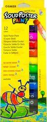Poster Paint Crayon Sticks Pk 12 Asst Cols Osmer Washable 9313023121210