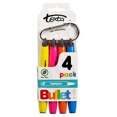 Highlighters Pack of 4 Texta with Caribiner Clip 9310924022219