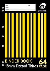Binder Book A4 64 Page Olympic Stripe 18mm Dotted Thirds Stapled [DB186i] 9310029050650
