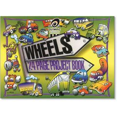 "Project Book 24 Page Olympic #522 ""Wheels"" 8mm Feint Rule & Plain Interleaved Stapled 272x375mm [P522] 9310029067610"