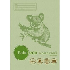 Exercise Book A4 96 Page Tudor 8mm Feint Rule ECO 100% Recycled Stapled [E896] 9310029228769