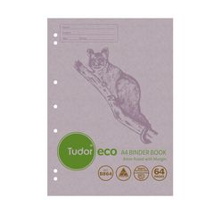 Binder Book A4 64 Page Tudor 8mm Feint Rule ECO 100% Recycled Stapled [B864] 9310029228844