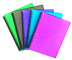 Display Book - A4 Refillable A4 20 Pocket Tudor Assorted Fluro Ribbed Colours  9310029328506