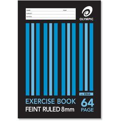 Exercise Book A4 64 Page Olympic Stripe 8mm Feint Rule Stapled [E864] 9310353004060