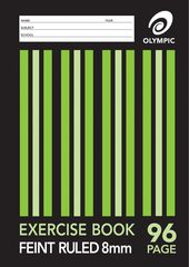 Exercise Book 9x7 96 Page Olympic Stripe 8mm Feint Rule Stapled 225mmx175mm [E2896] 9310353007139