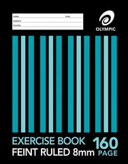 Exercise Book 9x7 160 Page Olympic Stripe 8mm Feint Rule Section Bound 225mmx175mm [E2816] 9310353013918