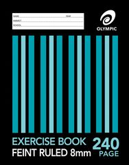 Exercise Book 9x7 240 Page Olympic Stripe 8mm Feint Rule Section Bound 225mmx175mm [E2824] 9310353015226