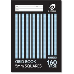 Grid Book 9x7 160 Page Olympic Stripe 5mm Squares Sewn 225mmx175mm [G2516] 9310353029735