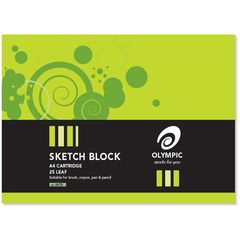Sketch Block A4 25 Leaf Olympic 110gsm Cartridge Paper [SK70] 9310353090377
