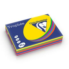 Trophee Copy Paper A4 80gsm Pk 250 Sheets Bright Assorted