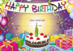 Certificates - Happy Birthday Cake  - Pk 200 CE326