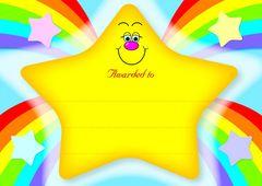 Certificates Card - Rainbow Star  - Pk 20 CE353C