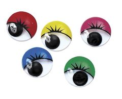 Joggle Eyes With Lashes Colour (Assorted Colours, Assorted Sizes) 9320325419006