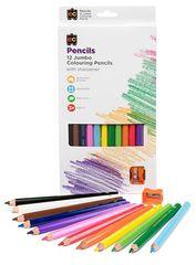 Colour Pencils Jumbo Washable 12pc & Sharpener 9314289008208