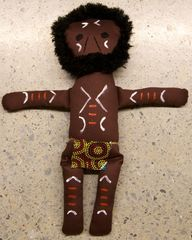 Aboriginal Wiradjuri Warrior Doll Fabric Handmade 360mm High 2770000043625