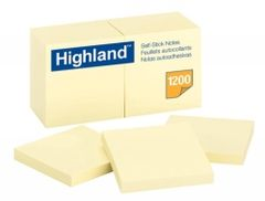 Stick On Notes Highland 6549 76X76 Yellow Pk12  051141233123