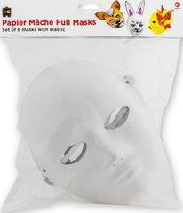 Paper Mache Masks Set of 6 With Elastic 9314289033729
