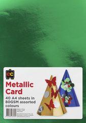 Metallic Card A4 Packet of 40 Asst Colours 9314289033484