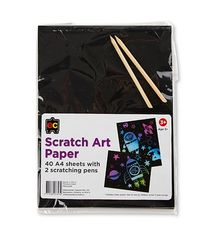 Scratch Art Paper A4 Packet 40 + 2 Scratching Pens 9314289033439
