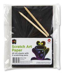 Scratch Art Paper A5 Packet 40 + 2 Scratching Pens 9314289033446