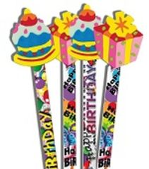 Pencils With Toppers - Birthday Surprise - Pk 36 PT1007