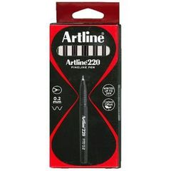Pen Fibre Tip Pk 12 Black Artline 220 - 0.2Mm 4974052831201