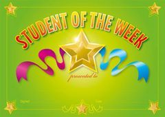 Certificates Card - Student Of The Week  - Pk 100 SW382C