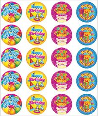 Stickers - Happy Birthday - Pk 100  RIC9232